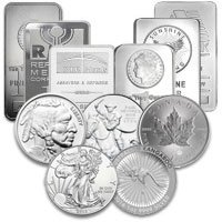 SILVER COINS, BARS, JEWELRY